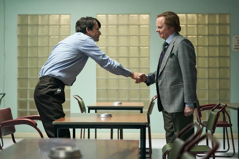 Nilsen's first meeting with Brian Masters (Jason Watkins) who will meet Nilsen over many years to create the biography 'Killing for Company' which the drama is based on. (ITV)