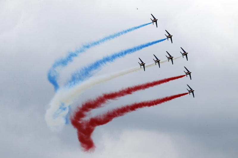The Patrouille de France aerobatic team perform its demonstration flight during the 50th Paris Air Show at Le Bourget airport, north of Paris, Friday, June 21, 2013. (AP Photo/Francois Mori)