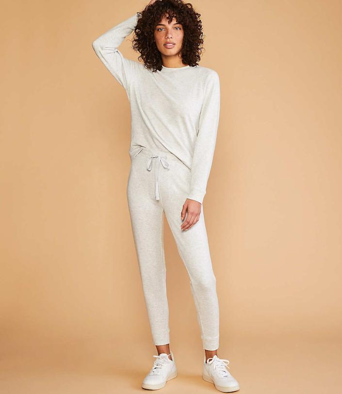 """<strong>Ana Jara, insurance claims consultant, Texas:</strong> Jara warns against staying in your pajamas all day and encourages getting dressed for the day.&nbsp;<br><br>We found this cozy lounge set that's comfortable enough for sitting at home but feels slightly more elevated than pajamas. Find it for $70 at <a href=""""https://fave.co/2xEAsmz"""" rel=""""nofollow noopener"""" target=""""_blank"""" data-ylk=""""slk:Lou &amp; Grey"""" class=""""link rapid-noclick-resp"""">Lou &amp; Grey</a>."""