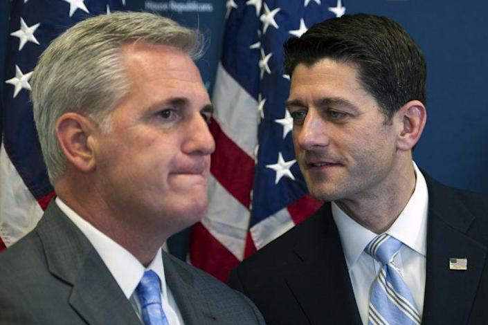 House Speaker Paul Ryan, R-Wis., right, speaks with House Majority Leader Kevin McCarthy, R-Calif., during a news conference on Capitol Hill in Washington, D.C., in 2016, following a House Republican leadership meeting. (Photo: Cliff Owen/AP)