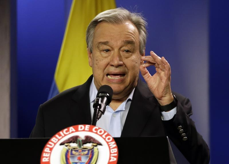 "FILE - Jan. 13, 2018 file photo, U.N. Secretary-General Antonio Guterres talks to the media during a join declaration with the Colombian president, in Bogota, Colombia. Saying humanity is waging war with the planet, the head of the United Nations isn't planning to let just any world leader speak about climate change in Monday's special ""action summit.""