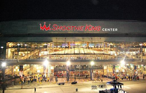 """This artist rendering released by Smoothie King shows how the current New Orleans Arena will likely look after it is renamed to the Smoothie King Center, Monday, Feb. 3, 2014. The New Orleans Pelicans and Louisiana-based Smoothie King have reached a 10-year agreement to rename the New Orleans Arena as the Smoothie King Center. Pelicans president Dennis Lauscha calls the deal """"gigantic"""" as it relates to the long-term financial viability of the NBA team in small-market New Orleans. Team and company officials declined to release financial terms of the deal, which also gives Smoothie King the option for a 10-year extension. (AP Photo/Smoothie King)"""