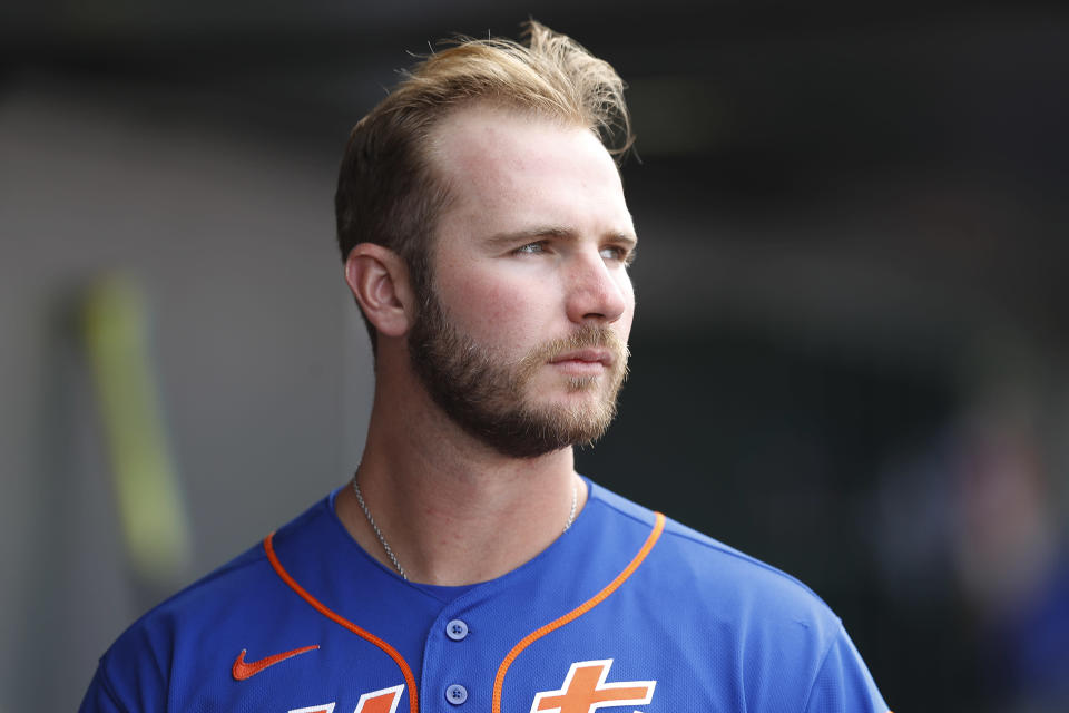 Mets star Pete Alonso talked to Yahoo Sports about his following up his Rookie of the Year season. (Photo by Michael Reaves/Getty Images)
