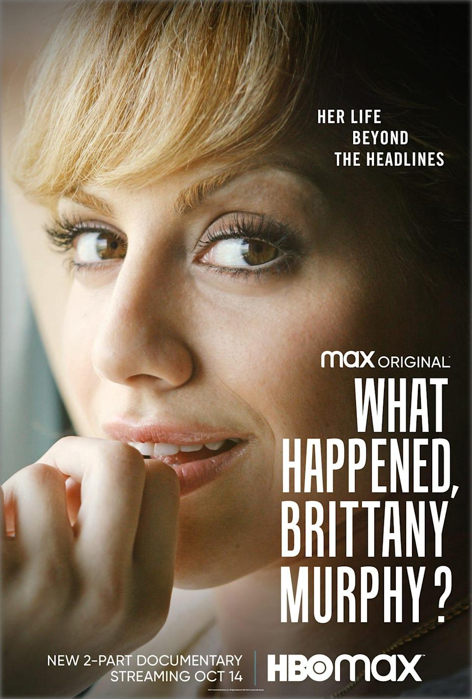 """The poster for HBO Max's documentary series, """"What Happened, Brittany Murphy?"""""""