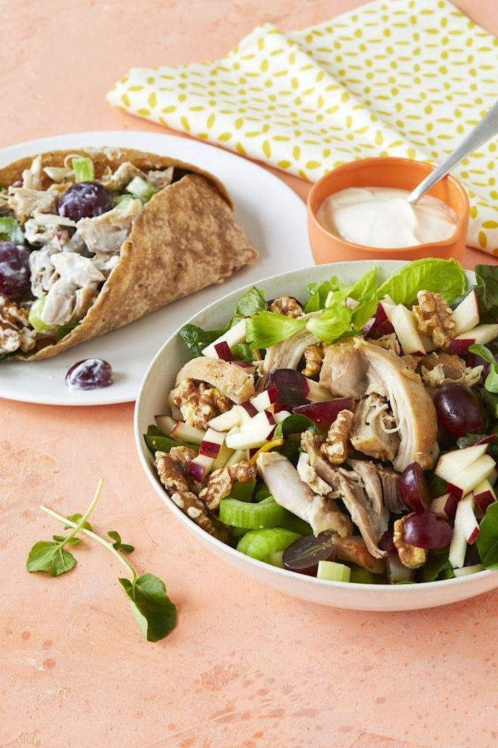 "<p>This classic chicken salad has fresh, colorful ingredients like grapes and apples that add a surprising element to keep this salad interesting. </p><p><em><a href=""https://www.womansday.com/food-recipes/a24221782/waldorf-salad-recipe/"" rel=""nofollow noopener"" target=""_blank"" data-ylk=""slk:Get the Waldorf Salad recipe."" class=""link rapid-noclick-resp"">Get the Waldorf Salad recipe. </a></em></p>"