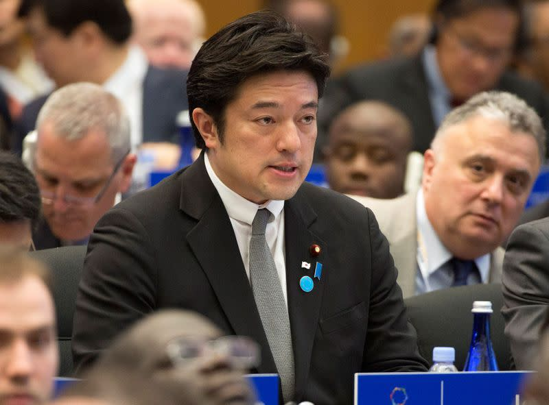 FILE PHOTO: Japan's then-State Minister for Foreign Affairs Nakayama speaks during the White House Summit on Countering Violent Extremism in Washington