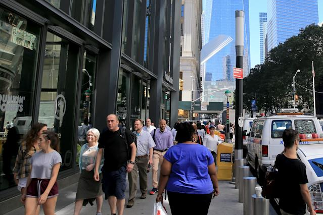 <p>Sixteen years after the collapse of the World Trade Center towers, construction is now complete on a modern subway hub on Fulton Street connecting to One World Trade Center, on Aug. 23, 2017. (Photo: Gordon Donovan/Yahoo News) </p>