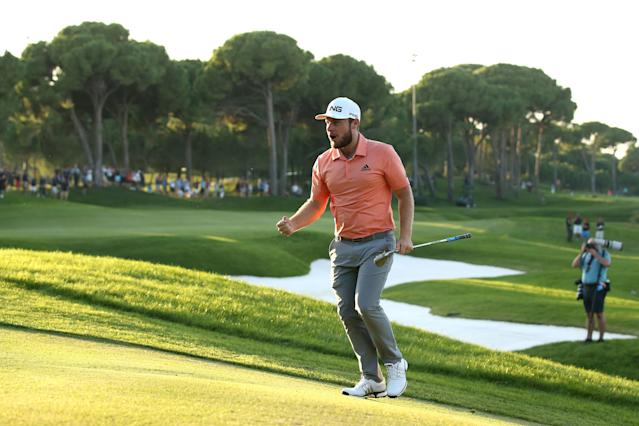 """<h1 class=""""title"""">Turkish Airlines Open - Day Four</h1> <div class=""""caption""""> Hatton celebrates after chipping in on the 18th hole during the first sudden-death playoff hole. </div> <cite class=""""credit"""">Jan Kruger</cite>"""