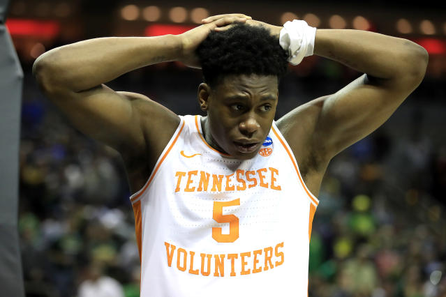 <p>Admiral Schofield #5 of the Tennessee Volunteers reacts after losing to the Purdue Boilermakers in overtime of the 2019 NCAA Men's Basketball Tournament South Regional at the KFC YUM! Center on March 28, 2019 in Louisville, Kentucky. (Photo by Andy Lyons/Getty Images) </p>
