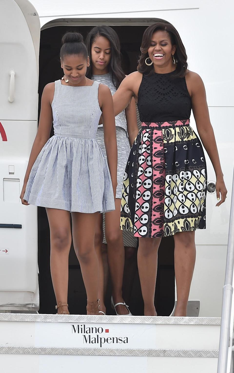 <p>Most likely inspired by Italy's rich art history. Michelle Obama wore a skirt rich in color and featuring a deco-like pattern. </p>