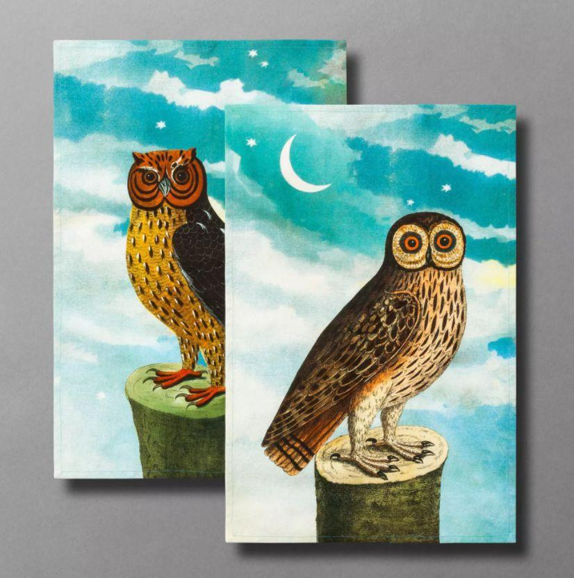 "Obsessed with owls? This set features both a barn owl <i>and</i> a horned owl. <a href=""https://goto.target.com/c/2055067/81938/2092?u=https%3A%2F%2Fwww.target.com%2Fp%2Fcold-as-ice-glass-ice-bucket-john-dhttps%3A%2F%2Fwww.target.com%2Fp%2F2pc-what-a-hoot-owl-print-tea-towel-set-john-derian-for-threshold-8482%2F-%2FA-79502792%23lnk%3Dsametabrian-for-threshold-8482%2F-%2FA-79502723%23lnk%3Dsametab&subid1=5&subid2=halloween&subid3=decor"" target=""_blank"" rel=""noopener noreferrer"">Find the set for $15 at Target</a>. <br /><br />"