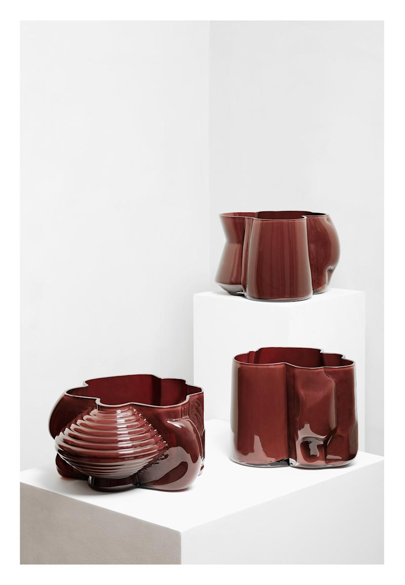 Glass vessels made by Brian Thoreen in collaboration with Vissio, a Mexican glass studio.