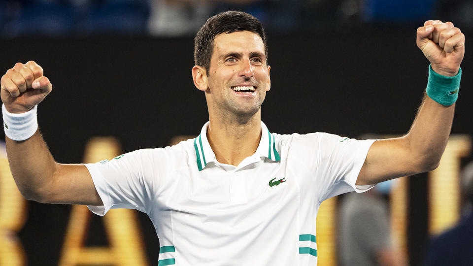 Novak Djokovic celebrates after beating Daniil Medvedev in the men's singles final of the 2021 Australian Open. (Photo by TPN/Getty Images)