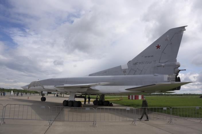 FILE - In this file photo taken on Saturday, May 21, 2016, A Russian Tu-22M3 bomber parked at the Kubinka air base outside Moscow, Russia, Saturday, May 21, 2016. The Russian military says that three members of a Russian warplane crew have died when their ejection seats accidentally activated during preflight checks on Tuesday, March 23, 2021 at a military airbase in the Kaluga region, about 145 kilometers (90 miles) southwest of Moscow. It said the crew of a Tu-22M3 long-range bomber was preparing for a training mission when its rescue system malfunctioned and accidentally bailed the crew out. (AP Photo/Vladimir Isachenkov, File)