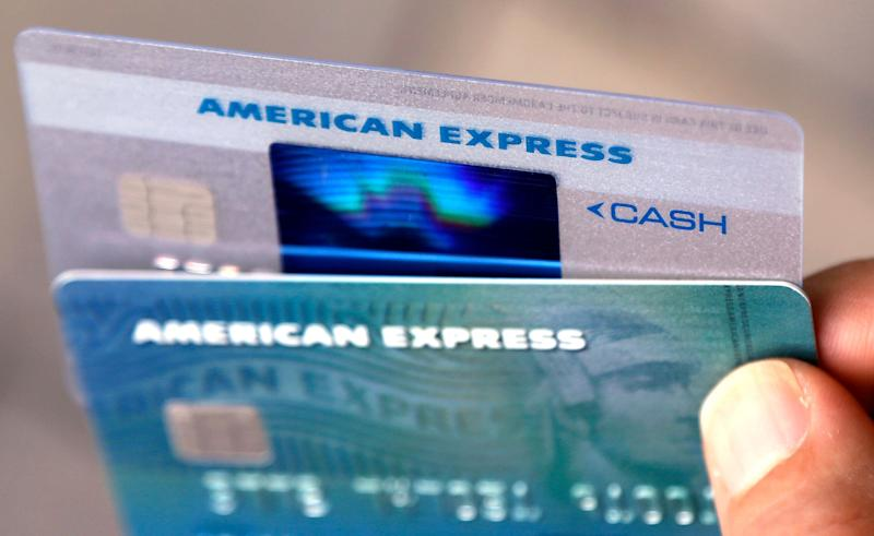 In this Monday, July 18, 2016, photo, American Express credit cards are seen, in North Andover, Mass. On Friday, Oct. 7, 2016, the Federal Reserve releases its August report on consumer borrowing. (AP Photo/Elise Amendola)