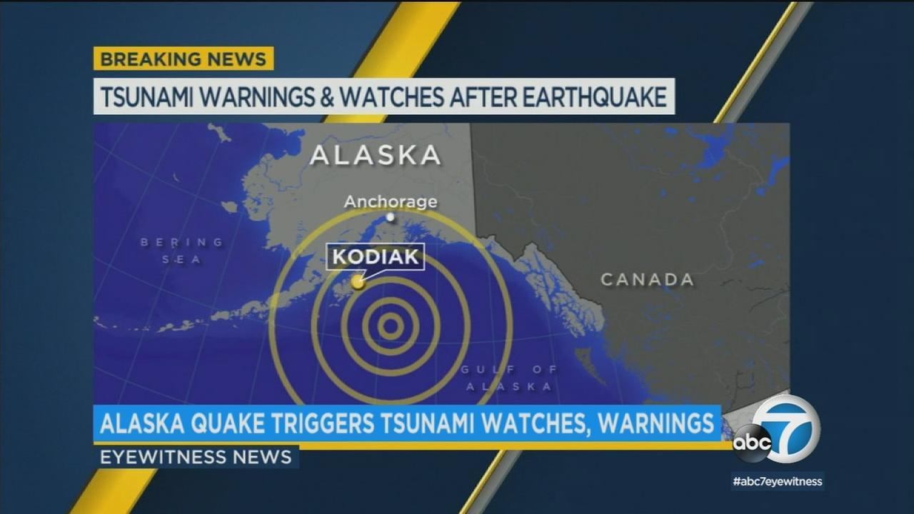 A 7.9-magnitude quake struck off the coast of Alaska Tuesday, triggering tsunami watches and warnings, including for California.