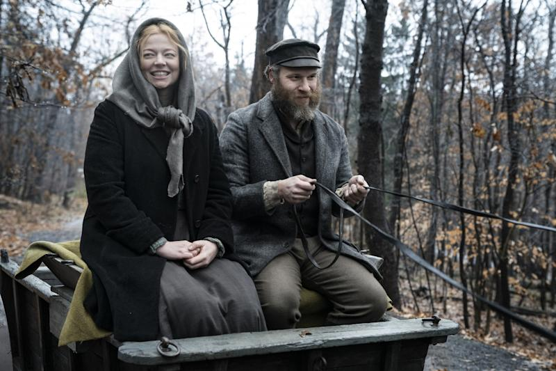 """Sarah Snook and Seth Rogen in """"An American Pickle."""""""