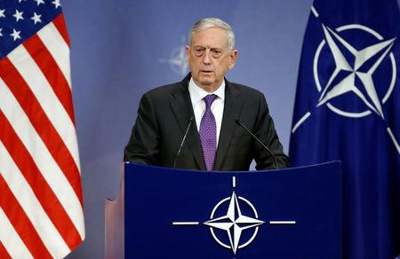 U.S. Secretary of Defence Mattis addresses a news conference during a NATO defence ministers meeting in Brussels