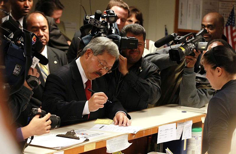 San Francisco interim Mayor Ed Lee files paperwork to officially run for mayor on August 8, 2011 in San Francisco, California.