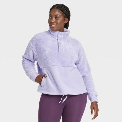 <p>We love the color of this cozy <span>All in Motion Snap Front Cozy Sherpa Pullover Sweatshirt</span> ($30).</p>