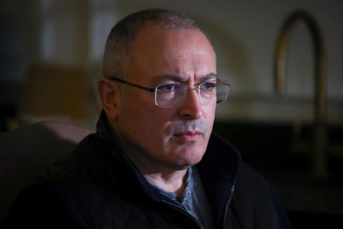 Former Russian tycoon Mikhail Khodorkovsky attends an interview with Reuters in central London, Britain