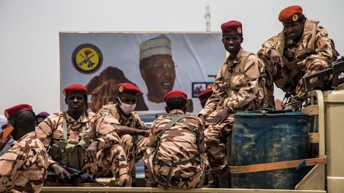 Soldiers attend the state funeral of late Chadian President Idriss Déby