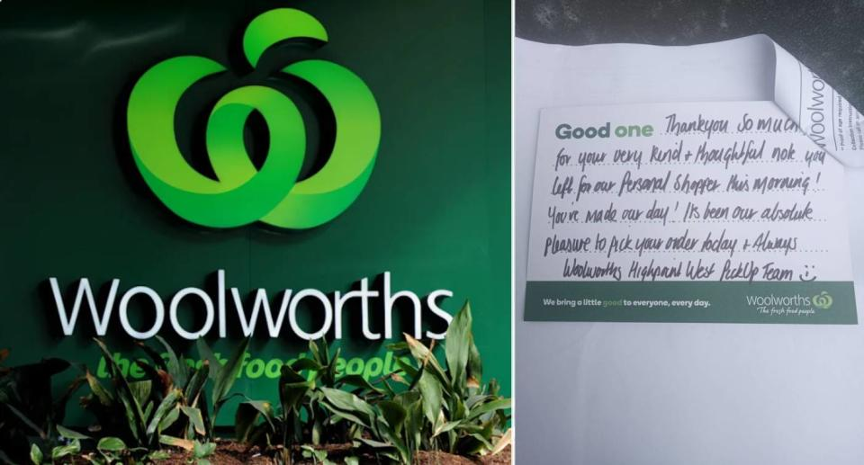 Woolworths logo (left), thank you note (right). Source: Getty Images (left), Facebook (right)
