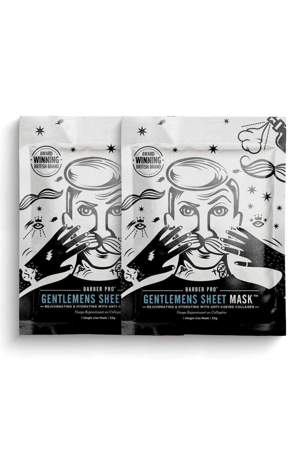 """<h3><strong>Barber Pro</strong> Gentlemen's Sheet Mask Duo</h3><br><br>Self-care could easily be putting a sheet mask on while taking a nap on the couch — and this facial hair-friendly mask is perfect for exactly that.<br><br><strong>Barber Pro</strong> Gentlemen's Sheet Mask Duo, $, available at <a href=""""https://go.skimresources.com/?id=30283X879131&url=https%3A%2F%2Fshop.nordstrom.com%2Fs%2Fbarber-pro-gentlemens-sheet-mask-duo-nordstrom-exclusive%2F4800278%3Forigin%3Dcategory-personalizedsort%26breadcrumb%3DHome%252FMen%252FGrooming%2520%2526%2520Cologne%252FGifts%2520%2526%2520Sets%26color%3Dnone"""" rel=""""nofollow noopener"""" target=""""_blank"""" data-ylk=""""slk:Nordstrom"""" class=""""link rapid-noclick-resp"""">Nordstrom</a>"""