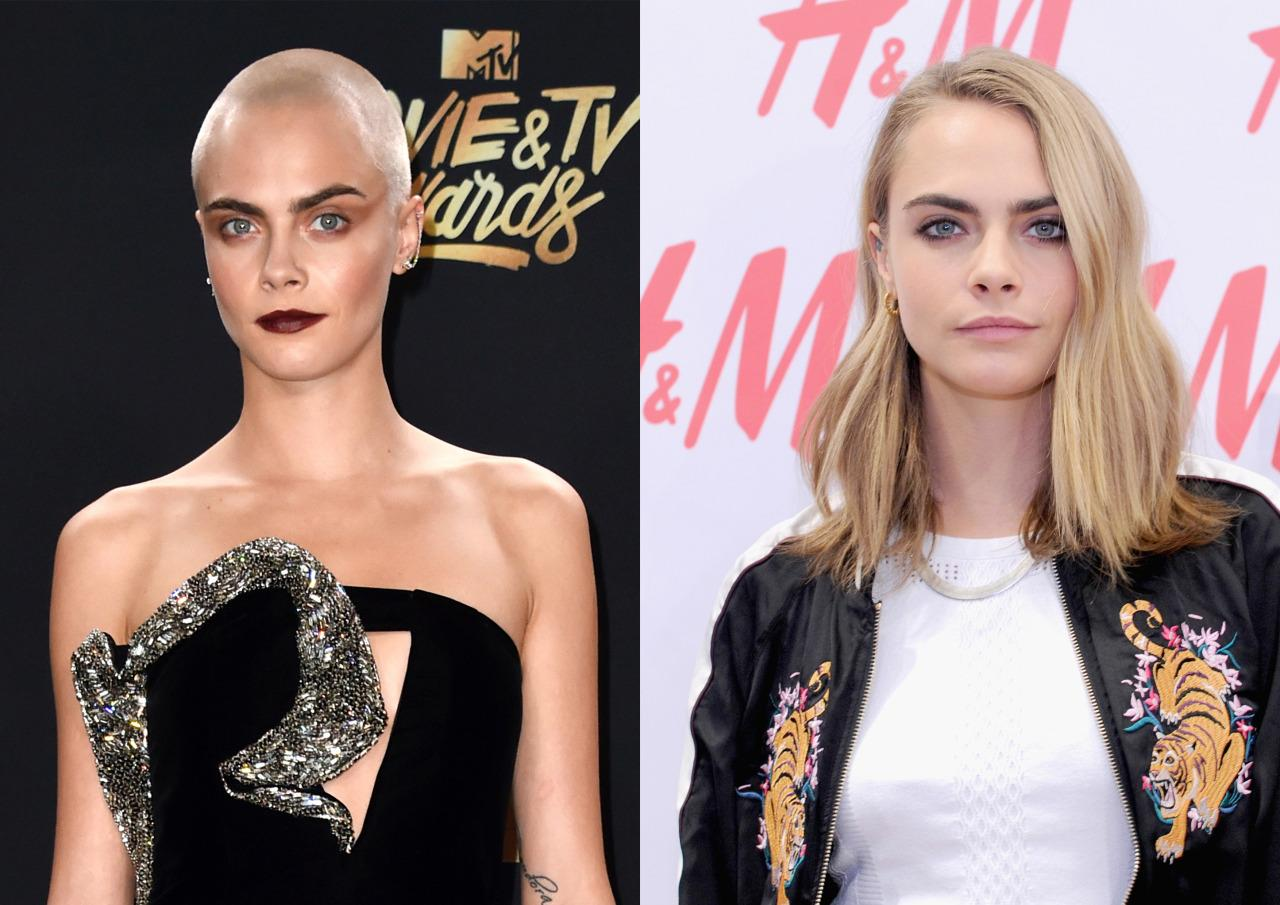 <p>The British model chopped off her locks before the 2017 Met Gala, taking to the red carpet with silver painted on hair. A week later, at the MTV Movie & TV Awards, Cara showed off her bald head in all its glory - and looked fantastic. <i>[Photo: Getty]</i></p>