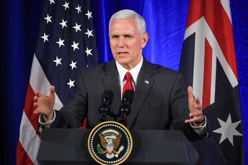 US Vice President Mike Pence speaks during a business forum in Sydney on April 22, 2017 amid high tensions with North Korea
