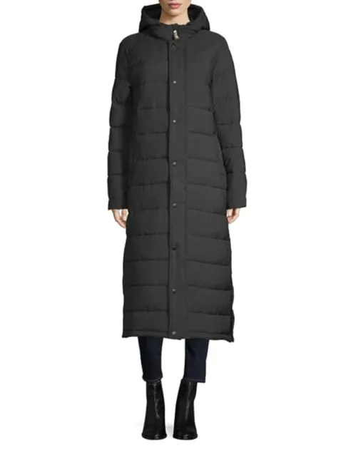 """<p>This long black puffer (sans fur) is half off — and is perfect for any occasion from casual to formal. Psst: the lining is Hudson Bay's iconic stripes.<br><strong>SHOP IT: <a href=""""https://fave.co/2TY8vka"""" rel=""""nofollow noopener"""" target=""""_blank"""" data-ylk=""""slk:The Bay, $149"""" class=""""link rapid-noclick-resp"""">The Bay, $149</a></strong> (regular $300)<br><i>(Photo courtesy The Bay)</i> </p>"""