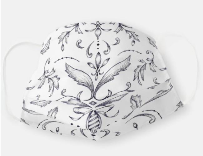black and white damask face mask covering