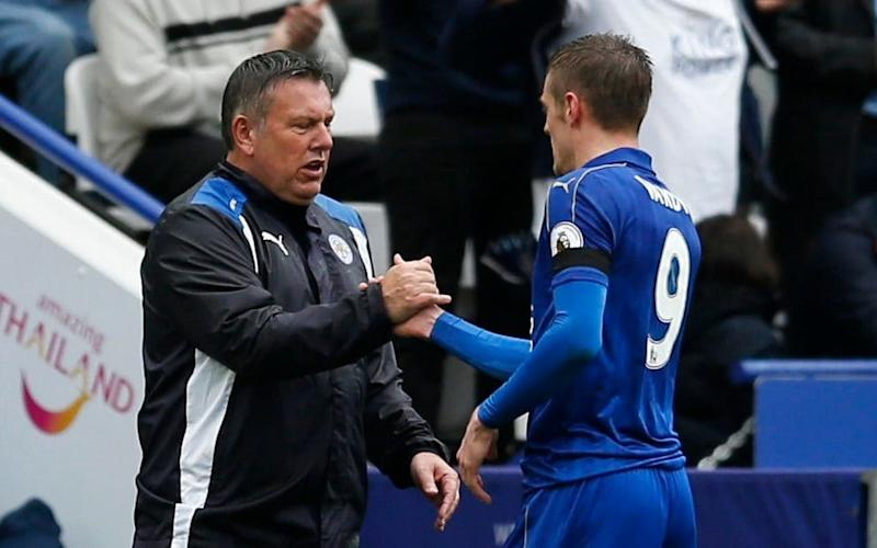 Craig Shakespeare shakes hands with Jamie Vardy - REUTERS