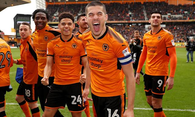 Wolves captain Conor Coady and his team-mates celebrate after the win over Birmingham.