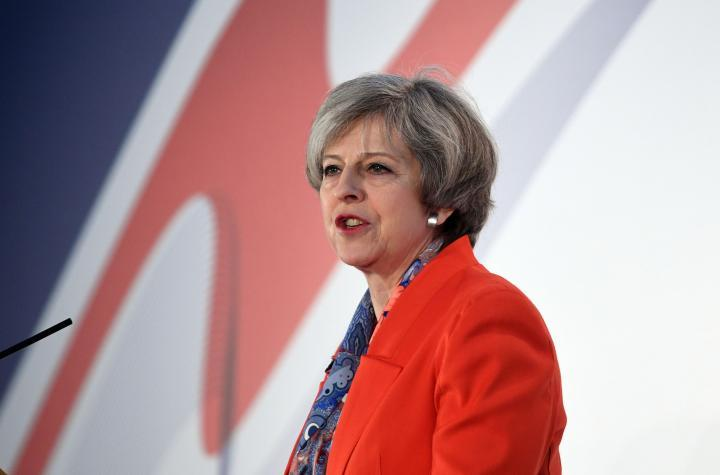 Premier inglese Theresa May al Conservative Spring Forum a Cardiff
