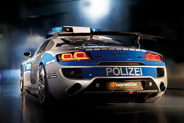 Decked out in German Polizei decals, this is only a concept police car. Unveiled in 2011 Essen Motor Show, this police car is based on the ABT R8 GTR vehicle, which is a modified version of Audi R8 Coupe 5.2 FSI quattro. It includes increased engine power to 620 PS and 550 Nm, 19-inch wheels with Hankook 235/35 Z19 and HA 305/30 Z19 tires, ceramic brake pads, stainless steel sport exhaust system et al.
