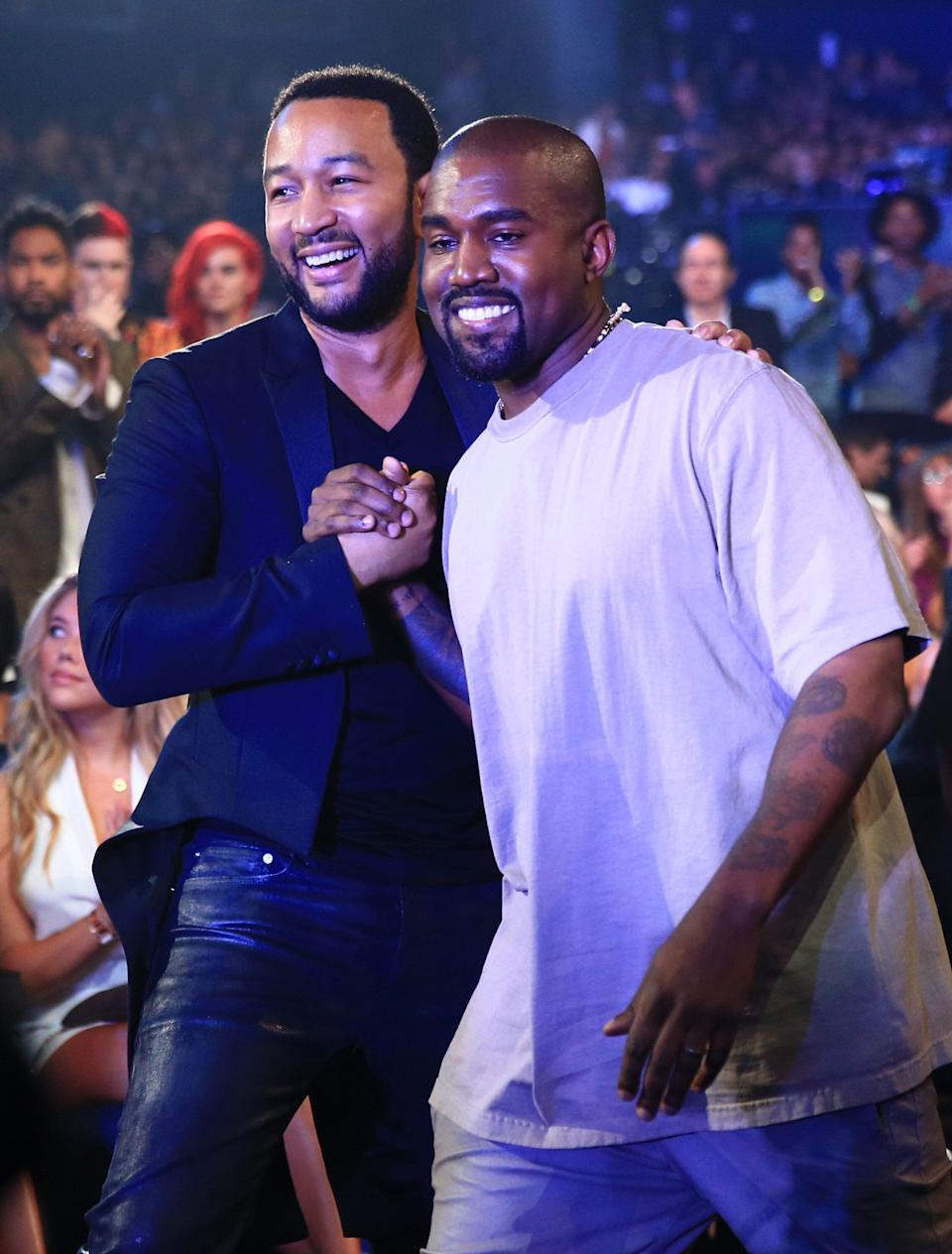 John Legend and Kanye West attend the 2015 MTV Video Music Awards. (Photo: Christopher Polk/MTV1415 via Getty Images)