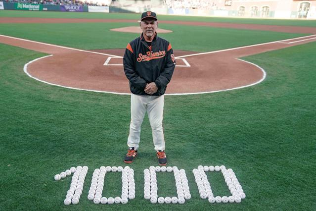 If the Giants can win 83 games, Bruce Bochy will end his career with the 10th-most wins by a manager. (USA TODAY Sports)