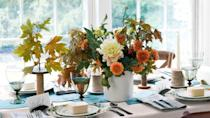"""<p><a href=""""https://www.countryliving.com/life/a25020918/what-day-is-thanksgiving/"""" rel=""""nofollow noopener"""" target=""""_blank"""" data-ylk=""""slk:Thanksgiving"""" class=""""link rapid-noclick-resp"""">Thanksgiving</a> is just around the corner, and odds are you're busily dreaming up your <a href=""""https://www.countryliving.com/food-drinks/g637/thanksgiving-menus/"""" rel=""""nofollow noopener"""" target=""""_blank"""" data-ylk=""""slk:Thanksgiving menu"""" class=""""link rapid-noclick-resp"""">Thanksgiving menu</a>. You decided on a smattering of delicious <a href=""""https://www.countryliving.com/food-drinks/g896/thanksgiving-side-dishes/"""" rel=""""nofollow noopener"""" target=""""_blank"""" data-ylk=""""slk:Thanksgiving side dishes"""" class=""""link rapid-noclick-resp"""">Thanksgiving side dishes</a> and delectable <a href=""""https://www.countryliving.com/food-drinks/g1384/thanksgiving-desserts/"""" rel=""""nofollow noopener"""" target=""""_blank"""" data-ylk=""""slk:Thanksgiving desserts"""" class=""""link rapid-noclick-resp"""">Thanksgiving desserts</a> to help celebrate the holiday. Now that the food is all squared away, let's talk about wowing your family with a spectacular centerpiece. After all, you've figured out <a href=""""https://www.countryliving.com/food-drinks/a29339585/how-to-carve-a-turkey/"""" rel=""""nofollow noopener"""" target=""""_blank"""" data-ylk=""""slk:how to carve the turkey"""" class=""""link rapid-noclick-resp"""">how to carve the turkey</a> like a pro, and it was all gobbled up. You baked the best <a href=""""https://www.countryliving.com/food-drinks/g974/pumpkin-pie-recipes/"""" rel=""""nofollow noopener"""" target=""""_blank"""" data-ylk=""""slk:pumpkin pie recipe"""" class=""""link rapid-noclick-resp"""">pumpkin pie recipe</a> ever, and there isn't a scrap left on the table! But these Thanksgiving centerpiece ideas won't budge. Whether you're leaning toward a centerpiece with gourds, opting for a gorgeous floral <a href=""""https://www.countryliving.com/diy-crafts/g2009/fall-centerpieces/"""" rel=""""nofollow noopener"""" target=""""_blank"""" data-ylk=""""slk:fall centerpiece"""" class=""""link rapid-noclick-resp"""">f"""