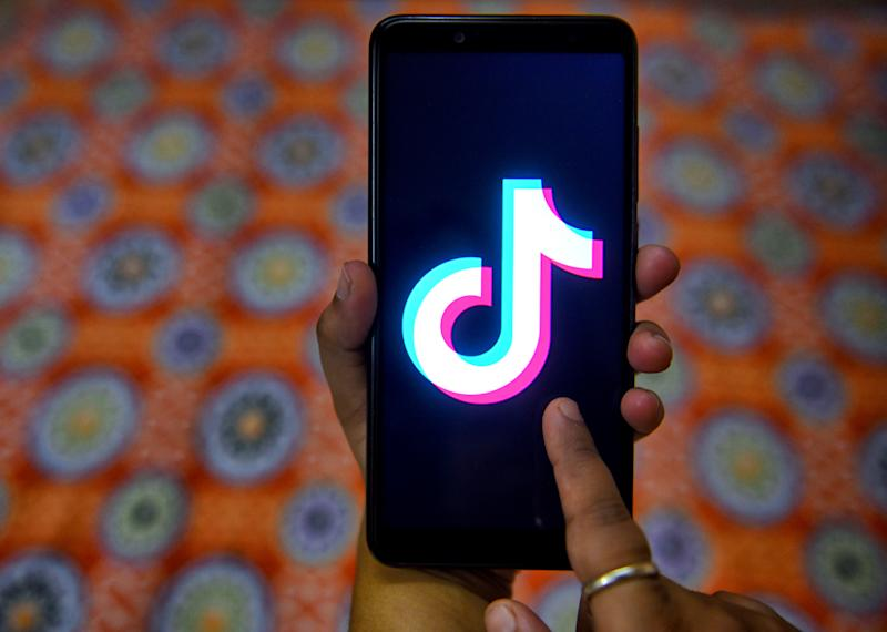 The tiktok application sign seen on a screen of an Android