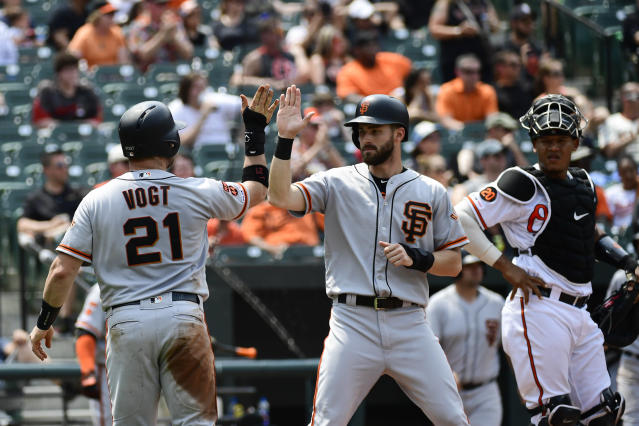 San Francisco Giants' Stephen Vogt (21) celebrates with fielder Steven Duggar after scoring on an Evan Longoria two RBI double in the fifth inning of an interleague baseball game against the Baltimore Orioles, Sunday, June 2, 2019, in Baltimore. (AP Photo/Tommy Gilligan)
