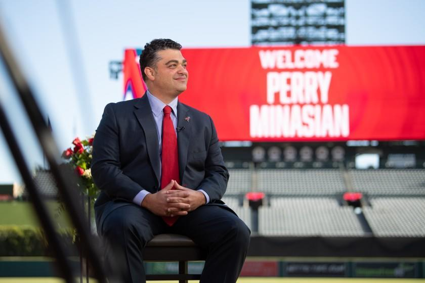 New Angels general manager Perry Minasian is introduced at a press conference.