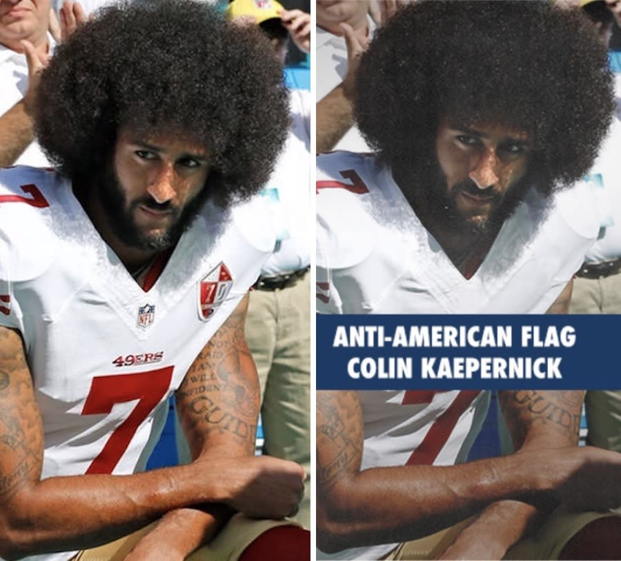 An original photo of Colin Kaepernick, left, alongside a version of the picture that appeared in a National Republican Congressional Committee fundraising email on July 10, 2019. (Photo compilation: Yahoo News; photos: Al Diaz/Miami Herald/TNS via Getty Images, NRCC)