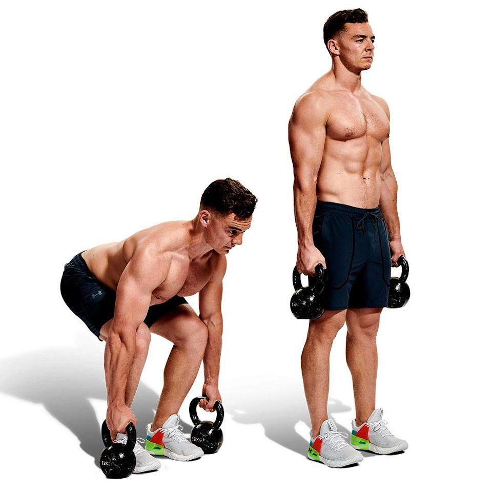 <p>Stand tall with a kettlebell in each hand, keeping your feet in line with your hips. Push your glutes back as far as you can, so your hips move horizontally, not downward. As you approach the floor, keep your chest high and core tight to stabilise your lower back. Lift your chest and push your heels into the floor to stand, with a firm grip on the weights.</p>