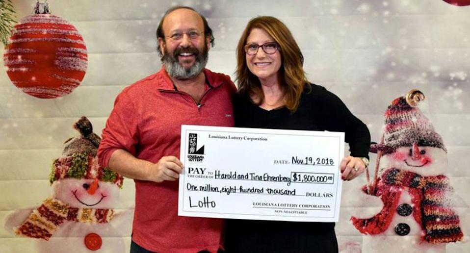 Harold and Tina Ehrenberg are now A$2.48 million richer after finding a winning lottery ticket while cleaning their home. Source: Facebook/ Louisiana Lottery