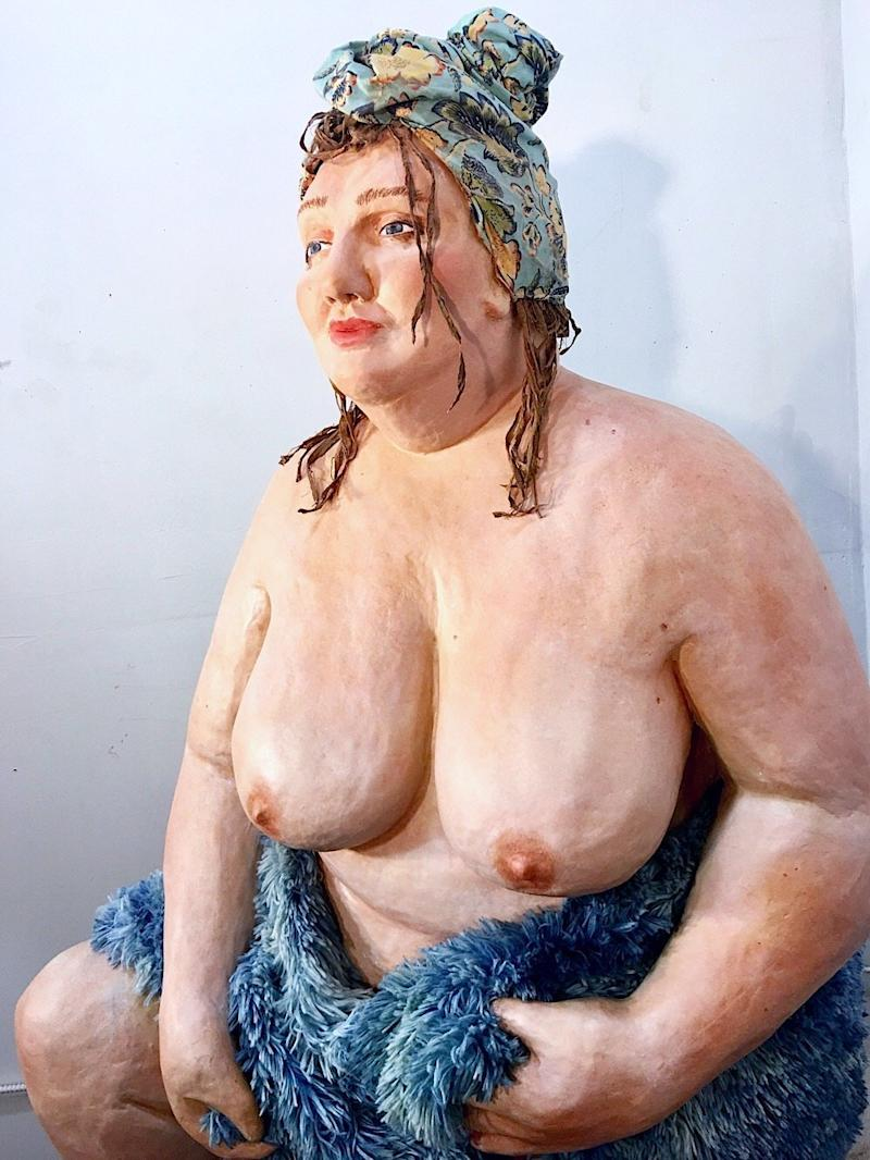 "Shona McAndrew, ""Charlotte,"" paper mache, acrylic, wood, fabric, 73 inches by 38 inches by 33 inches. (Shona McAndrew)"