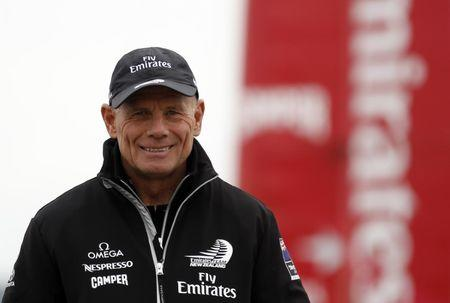 Grant Dalton, managing director of Emirates Team New Zealand, smiles during the America's Cup World Series regatta in Naples April 11, 2012. REUTERS/Alessandro Bianchi