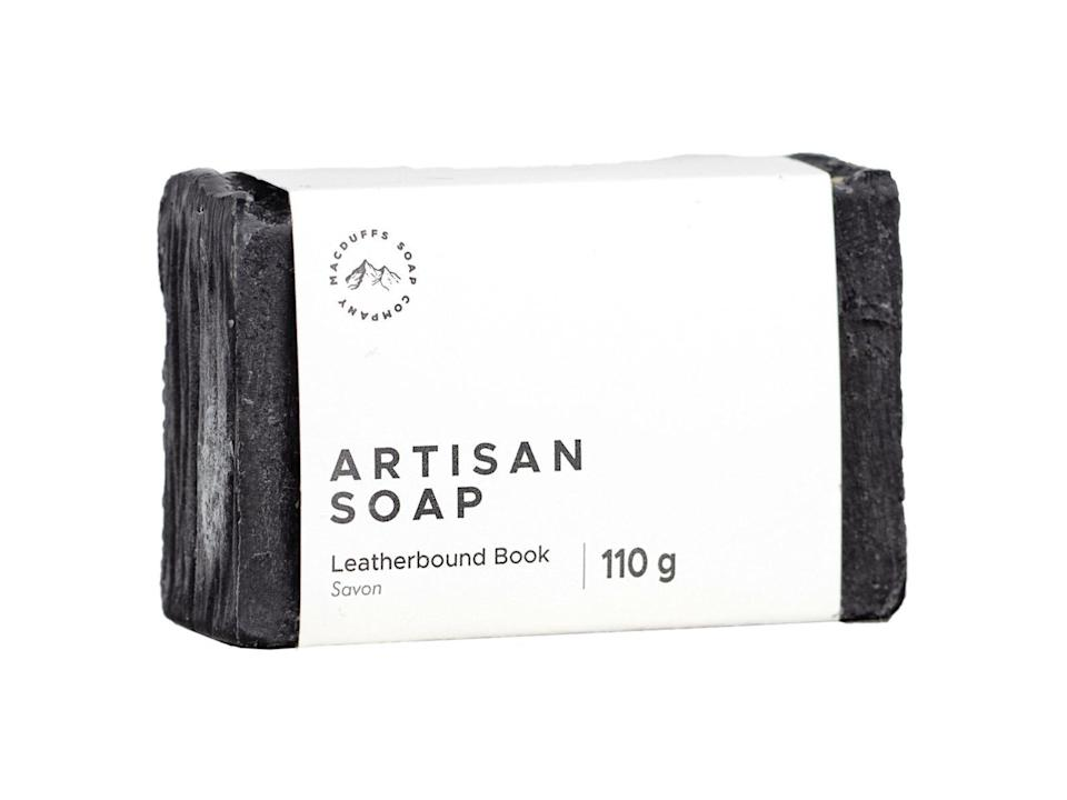 <p>The strong notes of leather and crisp paper mingled with the subtle notes of vanilla and musk in this <span>soap bar</span> ($7) will conjure up your favorite bookstore.</p>