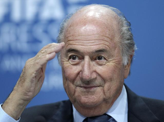FILE - In this June 1, 2011 file photo Sepp Blatter attends a press conference in Zurich, Switzerland. FIFAs former president Sepp Blatter said Thursday March 8, 2018 that the North American bid to host the 2026 World Cup now seems afraid of losing to Morocco. (AP Photo/Michael Probst, File)