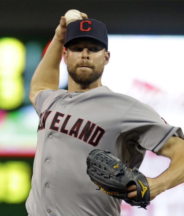 Cleveland Indians pitcher Corey Kluber throws against the Cleveland Indians in the first inning of a baseball game on Friday, Sept. 27, 2013, in Minneapolis. (AP Photo/Jim Mone)